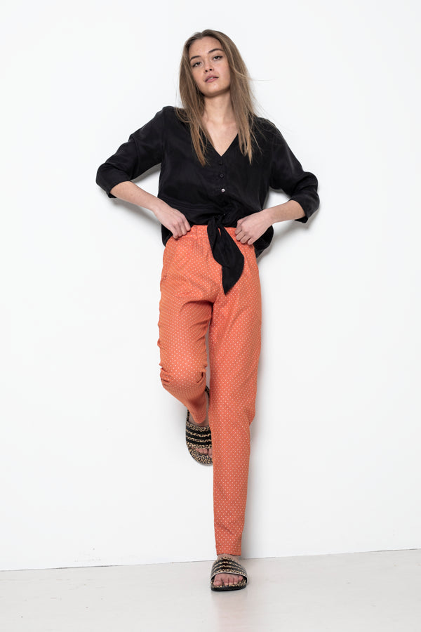 Sophia Lee Tora Pants / Orange & dots Oeko-Tex