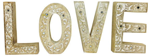 LOVE Flower Design Wooden Letters - Soap Scent & Home
