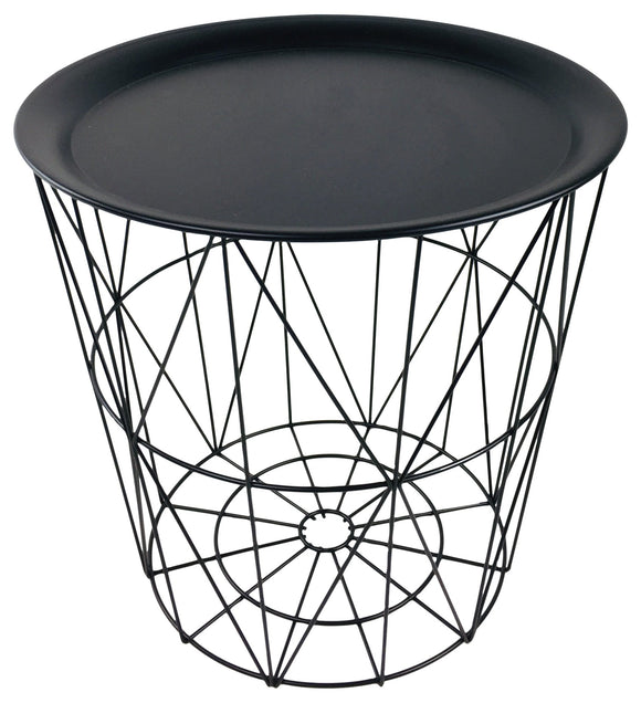 Geometric Black Wire Circular Tray Table - Soap Scent & Home