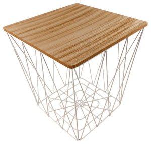Geometric White Wire Square Side Table - Soap Scent & Home