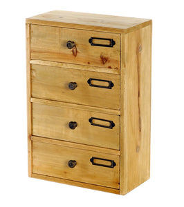 Tall 4 Drawers Wooden Storage 23 x 13 x 34 cm