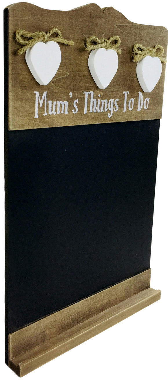 'Mum's Things To Do' Chalkboard With Three Love Hearts - Soap Scent & Home