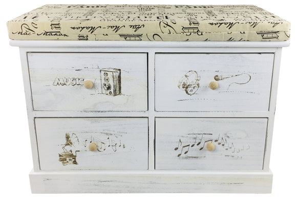 French Themed Wood Cabinet with 4 Drawers 70cm - Soap Scent & Home