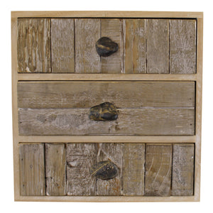 3 Drawer Unit, Driftwood Effect Drawers With Pebble Handles - Soap Scent & Home