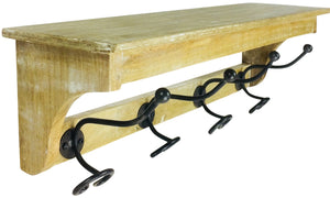 Solid Wood Bracket With 4 Hooks 57cm - Soap Scent & Home