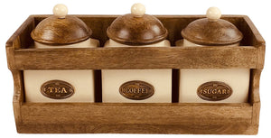 Wooden Rack with 3 Ceramic Jars - Soap Scent & Home