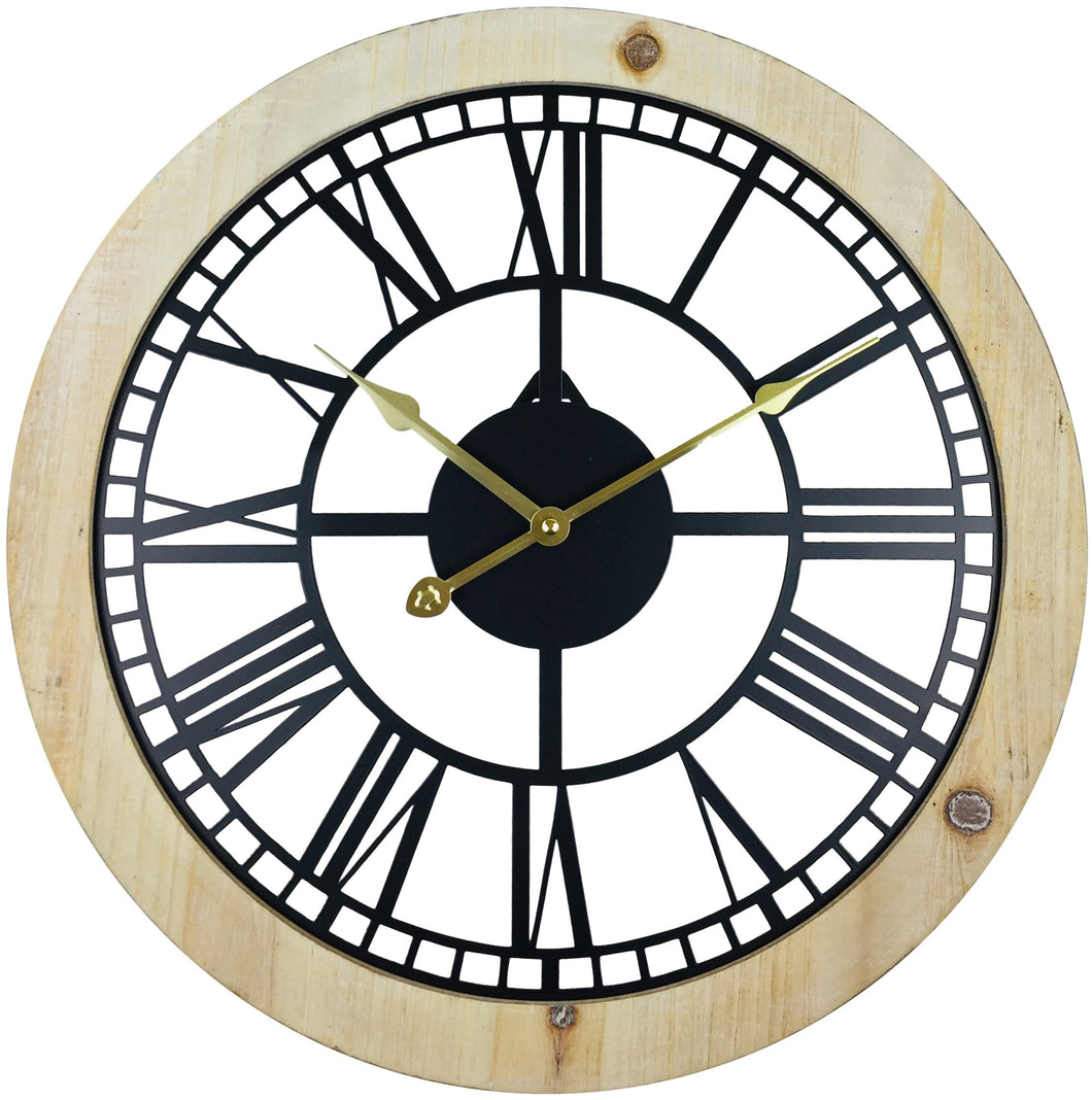 Roman Numeral Black Metal Cut Out Wall Clock 45cm