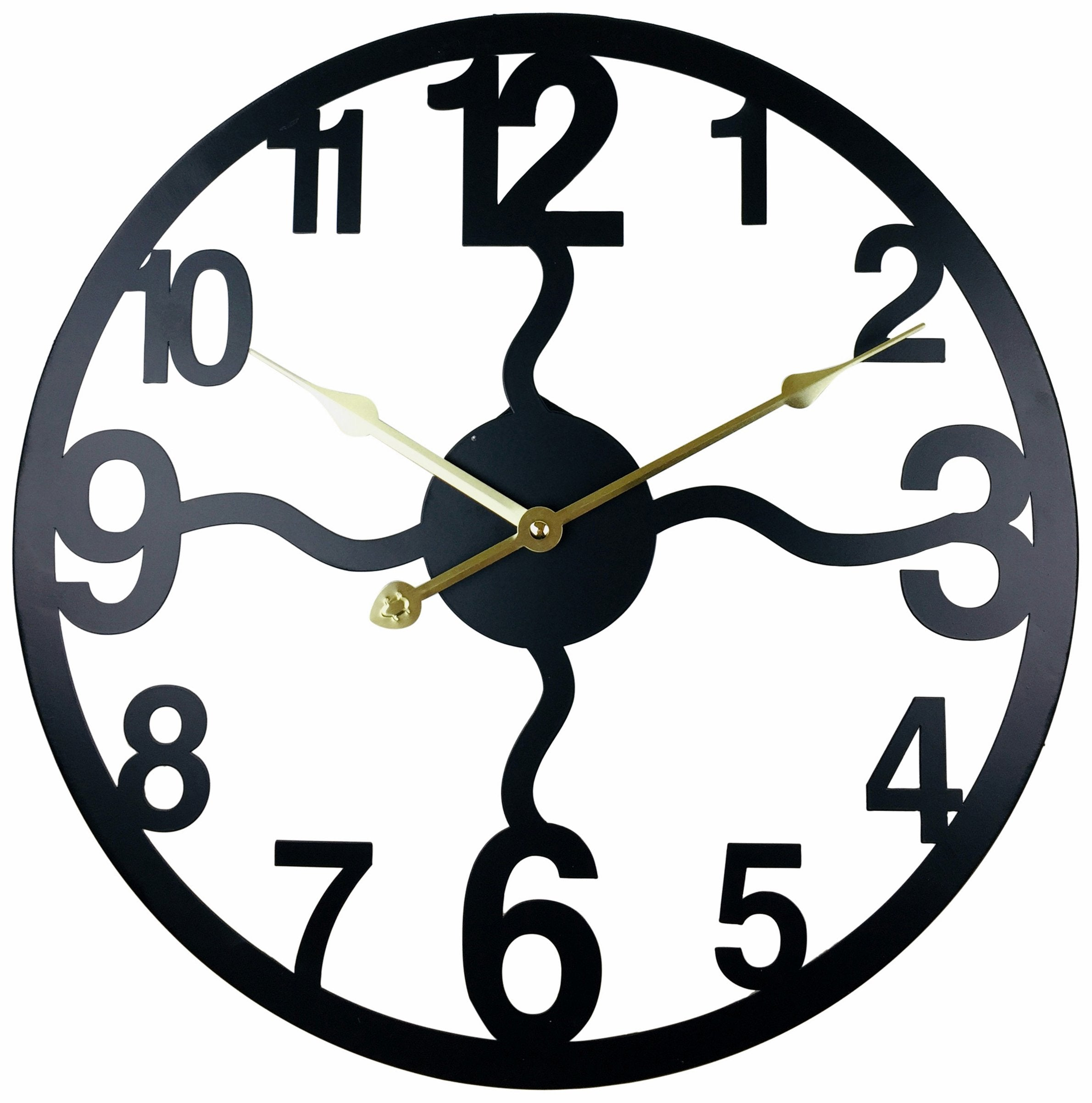 Black Metal Cut Out Wall Clock 40cm - Soap Scent & Home