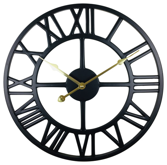 Black Metal Roman Numeral Wall Clock 39cm - Soap Scent & Home