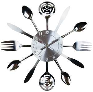 Kitchen Utensil & Cutlery Wall Clock 38cm - Soap Scent & Home