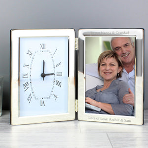 Personalised Silver Clock & 6x4 Photo Frame