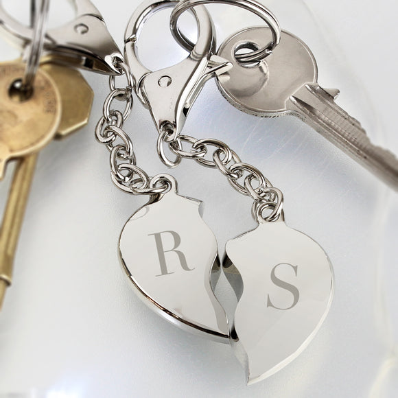 Personalised Initials Two Hearts Keyring