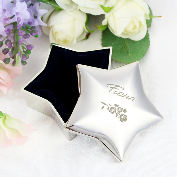 Personalised Vintage Rose Star Trinket Box