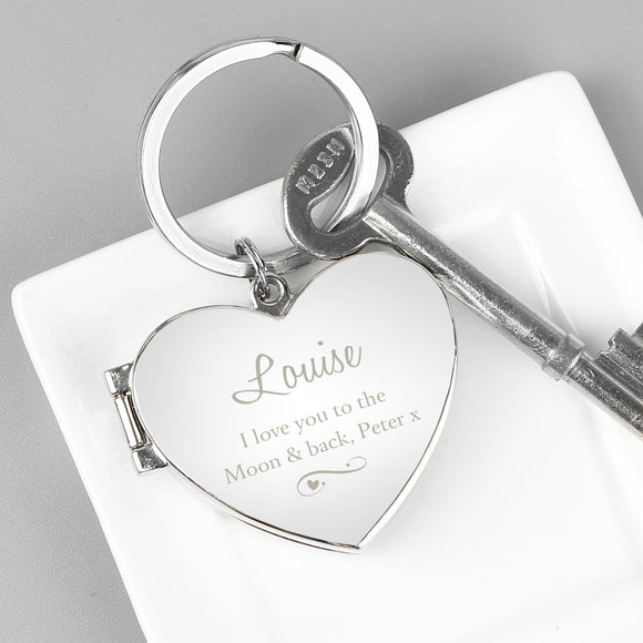 Personalised Swirl Heart Photoframe Keyring