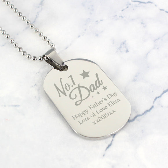 Personalised No.1 Dad Stainless Steel Dog Tag Necklace - Soap Scent & Home