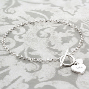 Personalised Hearts T-Bar Bracelet - Soap Scent & Home