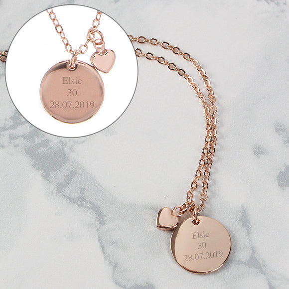 Personalised Rose Gold Coloured Disc and Heart Charm Necklace - Soap Scent & Home