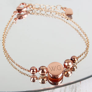Personalised Rose Gold Tone Initials Disc Bracelet - Soap Scent & Home