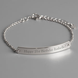 Personalised Silver Tone Bar Bracelet - Soap Scent & Home