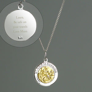 Personalised Sterling Silver & 9ct Gold St. Christopher Necklace - Soap Scent & Home