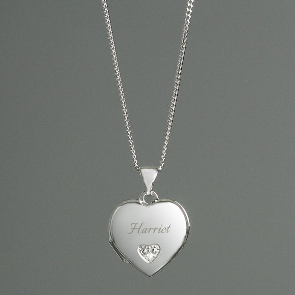 Personalised Children's Sterling Silver & Cubic Zirconia Heart Locket Necklace - Soap Scent & Home