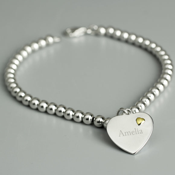 Personalised Sterling Silver and 9ct Gold Heart Bracelet - Soap Scent & Home