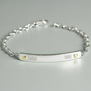 Personalised Two Names Sterling Silver and 9ct Gold Bar Bracelet - Soap Scent & Home