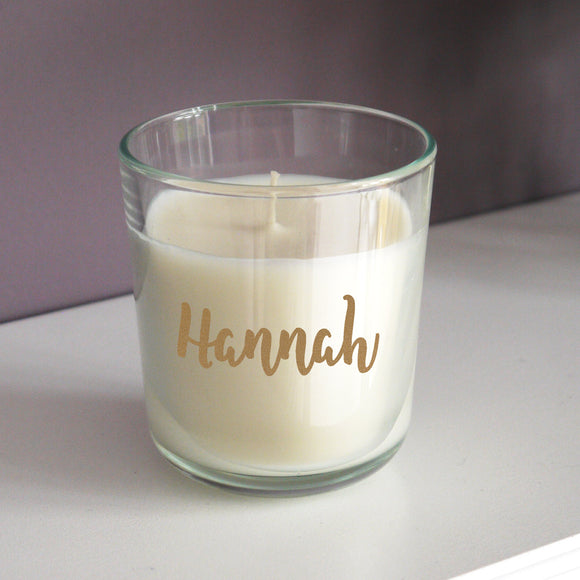 Personalised Gold Name Scented Jar Candle - Soap Scent & Home