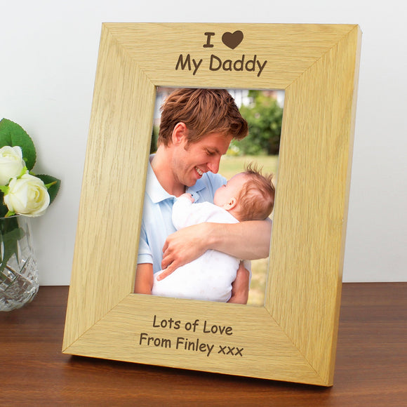 Personalised I Heart 6x4 Oak Finish Photo Frame - Soap Scent & Home