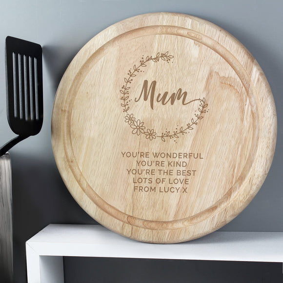 Personalised Mum Round Wooden Chopping Heart - Soap Scent & Home