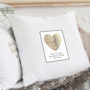 Personalised 1896 - 1904 Revised New Map Heart Cushion Cover - Soap Scent & Home