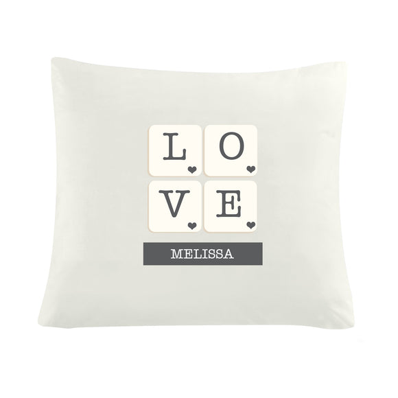 Personalised LOVE Tiles Cushion Cover - Soap Scent & Home