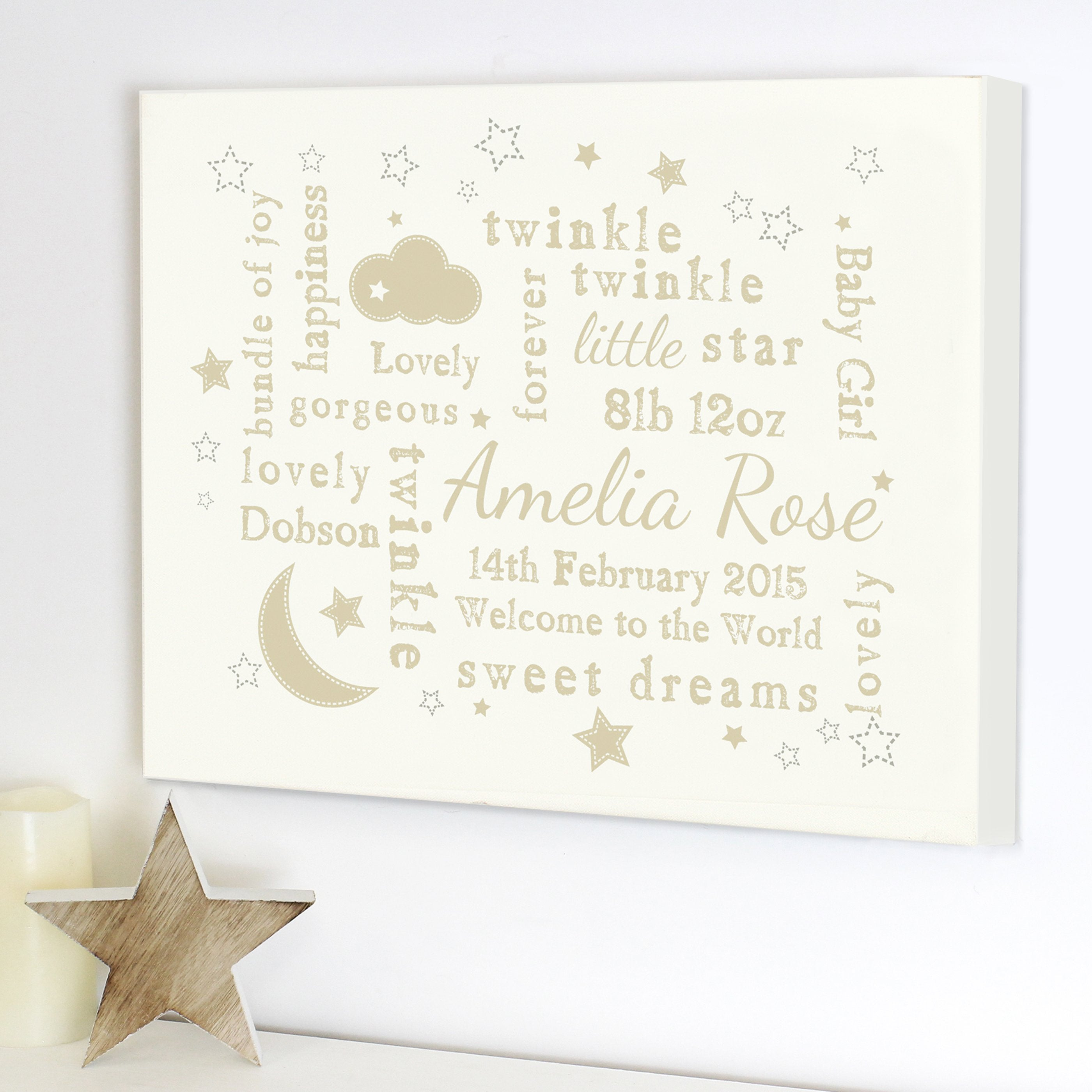 Personalised Twinkle Twinkle Typography Landscape Canvas - Soap Scent & Home