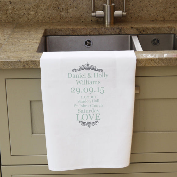 Personalised Wedding Typography White Tea Towel - Soap Scent & Home