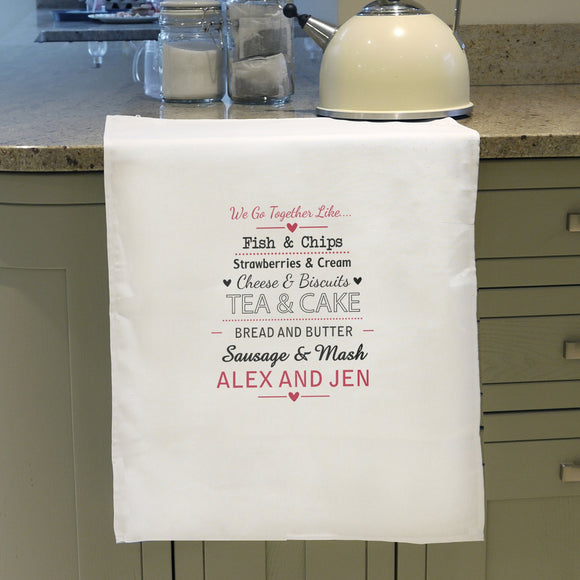 Personalised We Go Together Like.... White Tea Towel - Soap Scent & Home