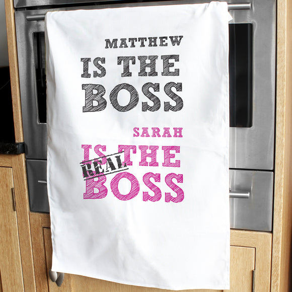 Personalised The Real Boss White Tea Towel - Soap Scent & Home