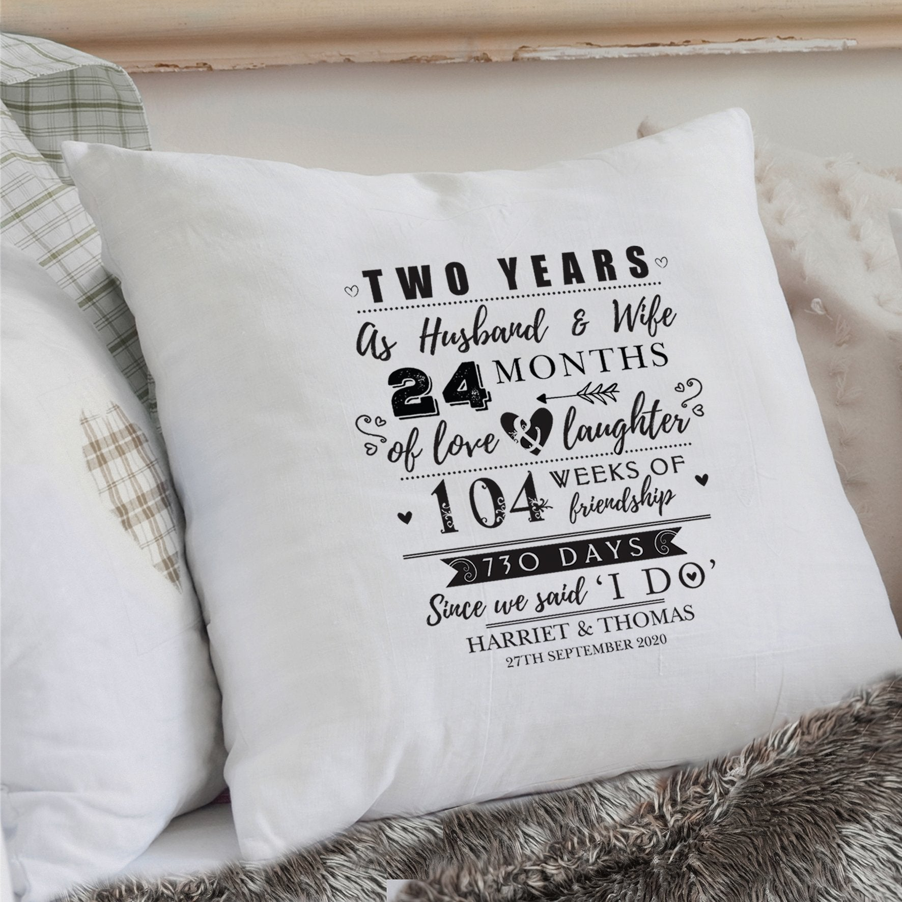 Personalised 2nd Anniversary Cushion Cover - Soap Scent & Home