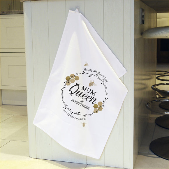 Personalised Queen Bee White Tea Towel - Soap Scent & Home