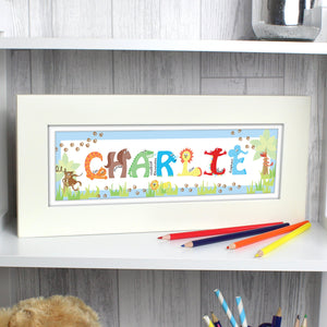 Personalised Blue Animal Alphabet Frame - Soap Scent & Home
