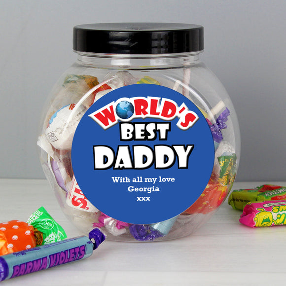 Personalised Blue Worlds Best Sweet Jar - Soap Scent & Home