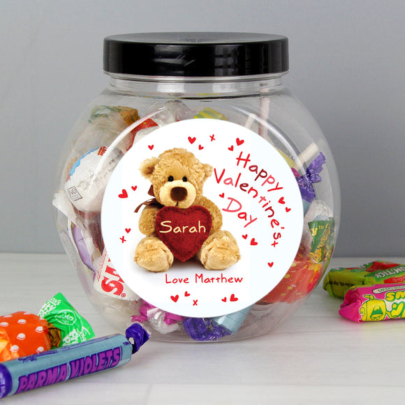Personalised Teddy Heart Sweet Jar - Soap Scent & Home