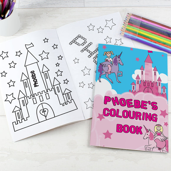 Personalised Princess & Unicorn Colouring Book with Pencil Crayons - Soap Scent & Home