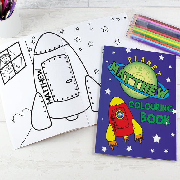 Personalised Space Colouring Book with Pencil Crayons - Soap Scent & Home