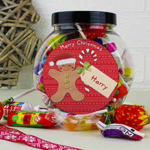Personalised Felt Stitch Gingerbread Man Sweet Jar - Soap Scent & Home