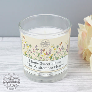 Personalised Country Diary Wild Flowers Scented Jar Candle - Soap Scent & Home