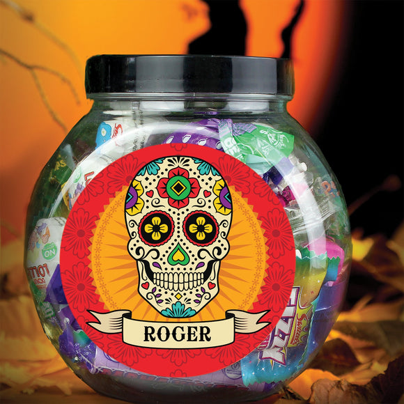 Personalised Sugar Skull Sweet Jar - Soap Scent & Home