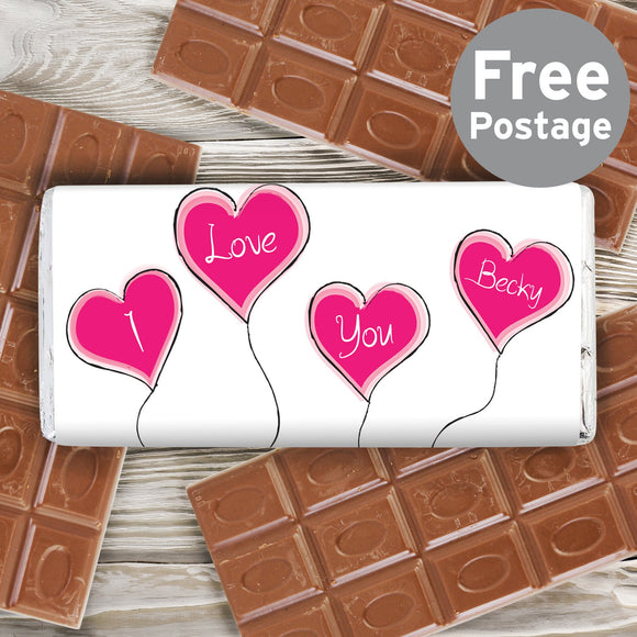 Personalised Heart Balloon Milk Chocolate Bar - Soap Scent & Home
