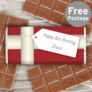 Personalised Ribbon Tag Milk Chocolate Bar