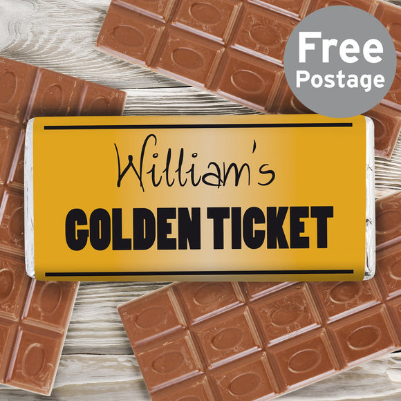 Personalised Golden Ticket Milk Chocolate Bar - Soap Scent & Home
