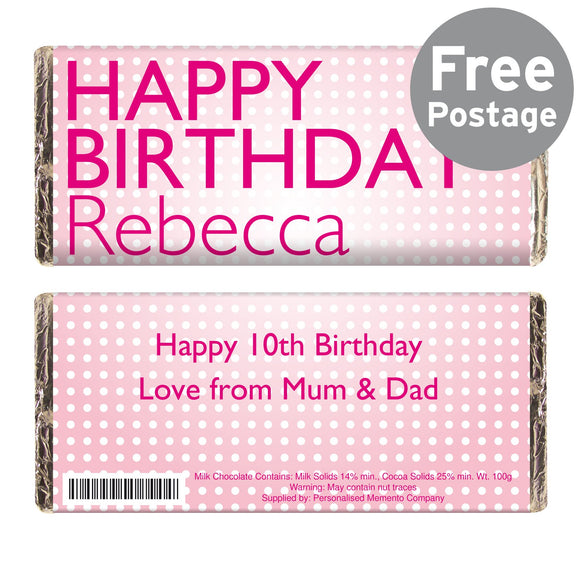 Personalised Happy Birthday Pink Dots Milk Chocolate Bar - Soap Scent & Home